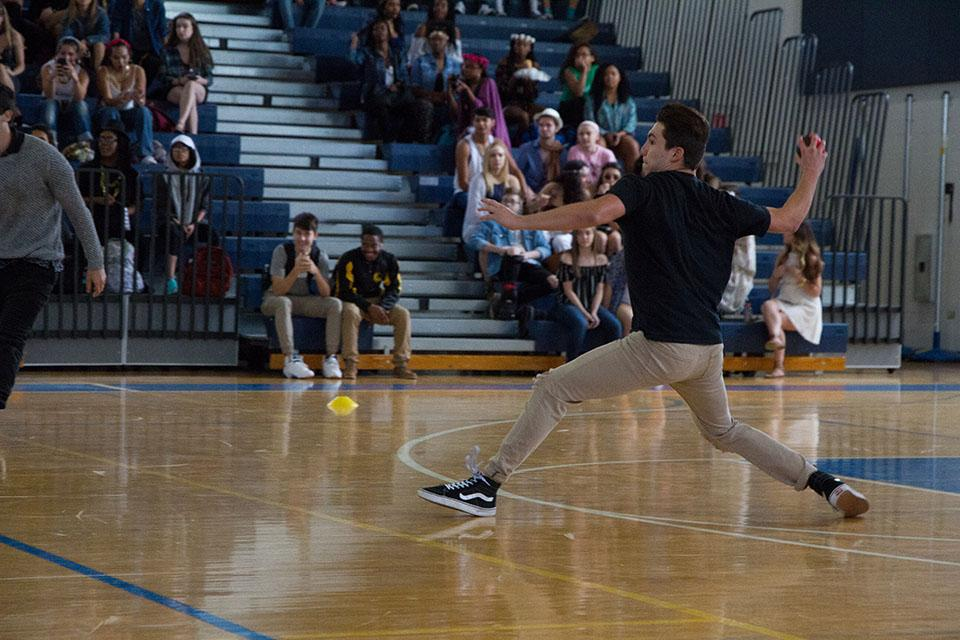 """Spirit Week events began with a three-match dodgeball game in the gym. Band junior Kyle Tellez defeated the freshmen and sophomore team in a one-on-four situation after the rest of the sophomore and junior team was eliminated. """"I've always loved playing sports, especially when you have a crowd of people cheering for you,"""" Tellez said. """"When I won for our team I was really hyped and relieved I didn't let our team down."""""""