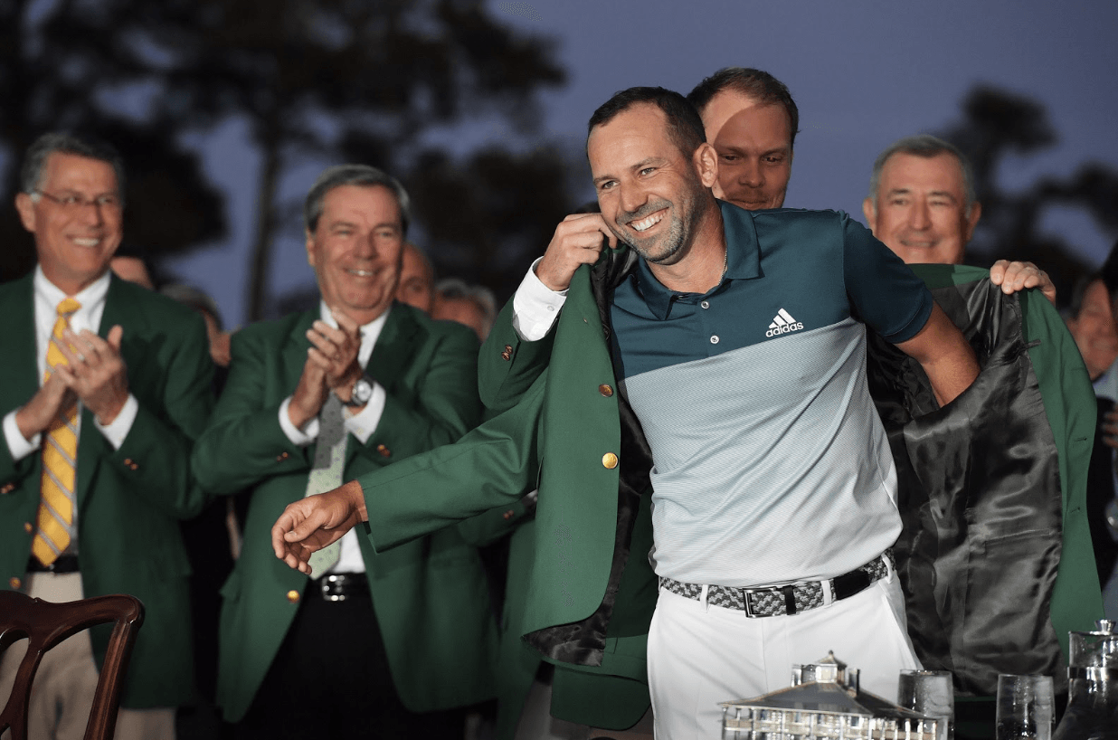 Sergio Garcia, 2017 Masters tournament winner, is awarded with the prestigious green jacket that is passed on every year from previous winners. Garcia won the tournament Sunday after a difficult battle with fellow PGA tour player, Justin Rose.
