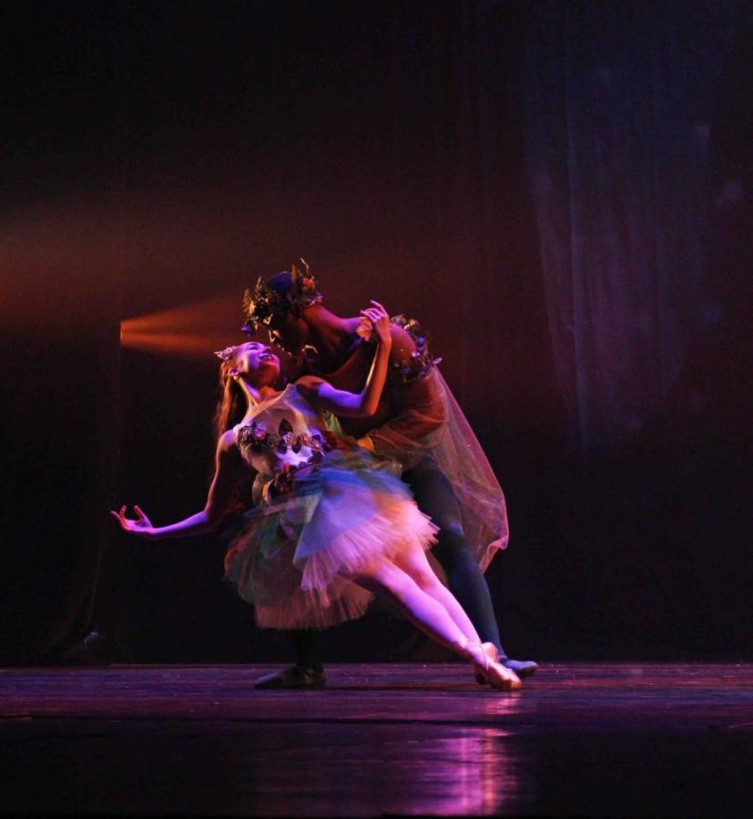 Dance seniors Darius Hickman and Sasha Lazarus performing a ballet duet at the Spring dance concert.