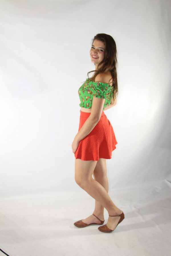 Strings junior Nikki Lickstein modeling a shirt from Topshop