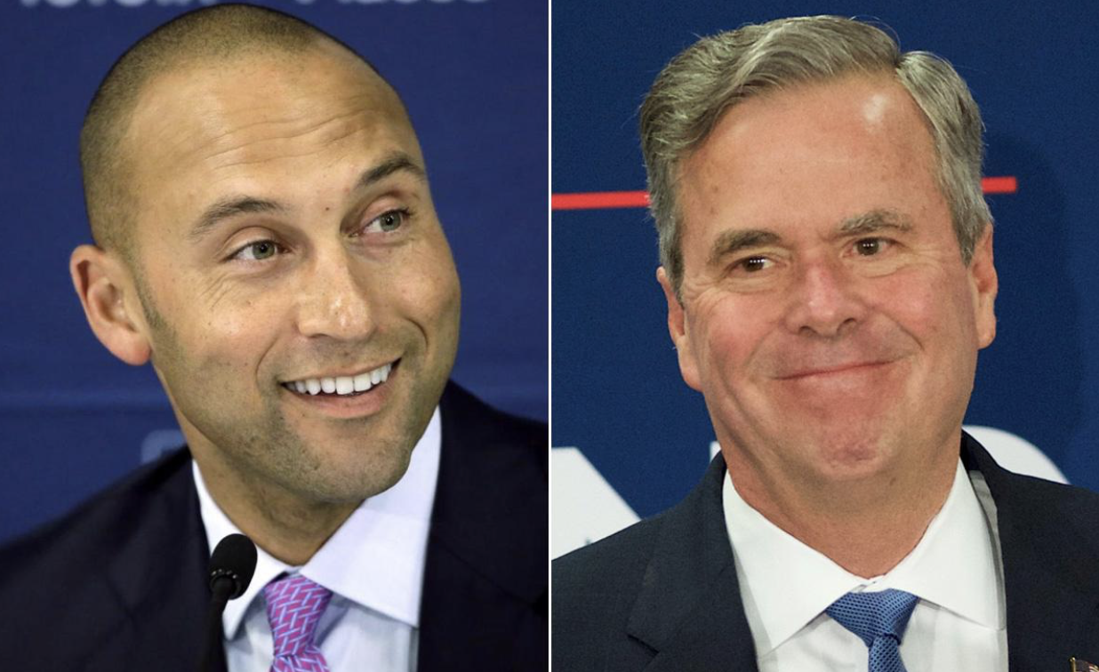 Former MLB player, Derik Jeter (Left), and former Florida governor and 2016 presidential candidate, Jeb Bush (right), have teamed up along with a few others to try to purchase the Miami Marlins baseball team for 1.3 billion after previous team owner, Jeffrey Loria has offered to sell the team.