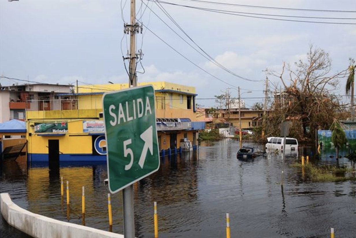 A flooded neighborhood in Puerto Rico.
