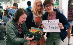 """Theatre sophomore Abigail Willer, communications sophomore Kristina Robinette, and communications sophomore Milani Gosman drew inspiration from characters in the Netflix original series """"Stranger Things"""" for Halloween 2016. The trio were widely recognized by the show's viewers across campus. """"I was obsessed with the show at the time and Eleven's character really stood out to me,"""" Robinette said."""