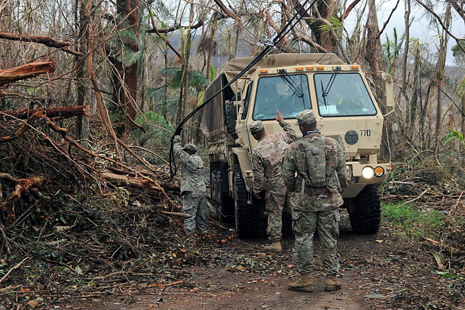 """Puerto Rico national guard work to assess damages after recent Hurricane strike"""