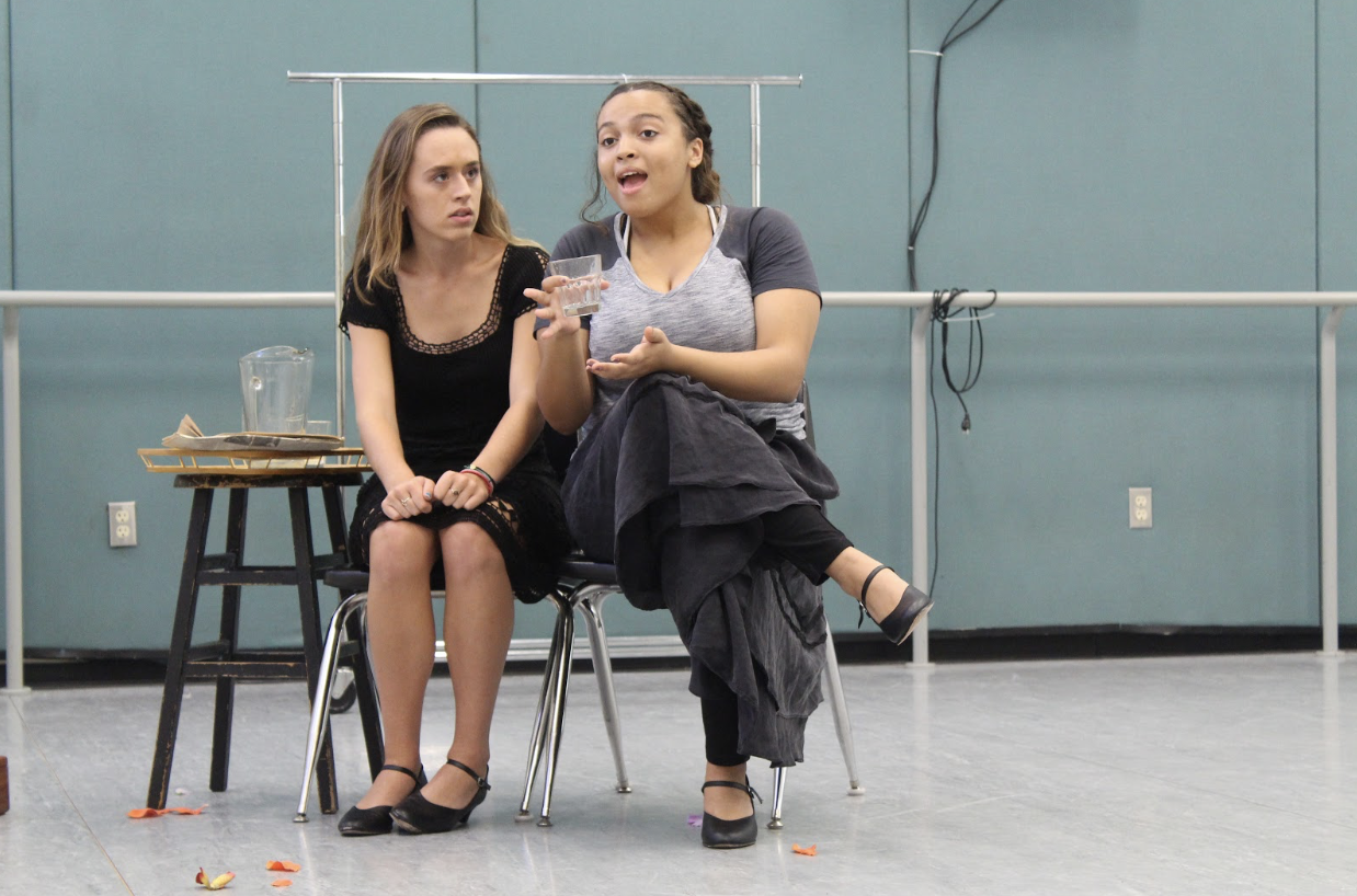 """Theatre seniors Madison Burmeister and Azure Kordick begin blocking rehearsals for """"All My Sons,"""" in one of the dance studios in Building 4."""