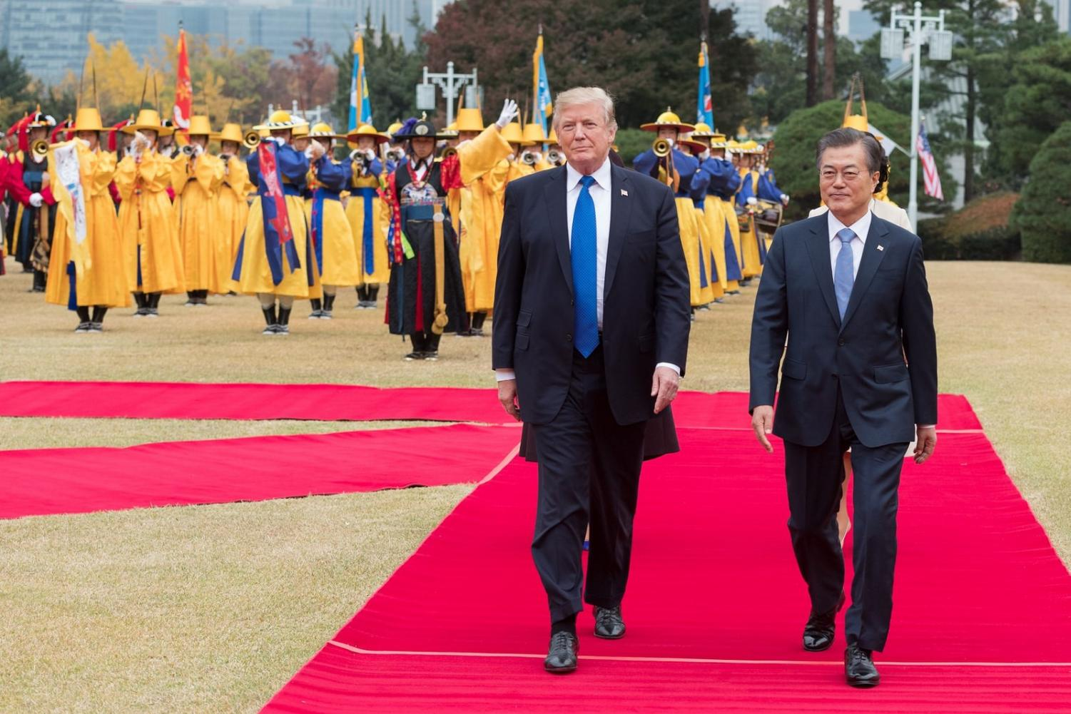 South Korea's President Moon Jae-in welcomes President Trump to his third stop on his trip throughout the Asia-Pacific region.