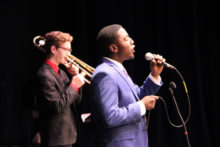 Band junior Leo Markel and vocal senior James Jean, along with the Groove Toons jazz group, perform at the Jazz Combos Concert held on Oct. 24. Vocal majors collaborated with band students in delivering a melodic and powerful performance.