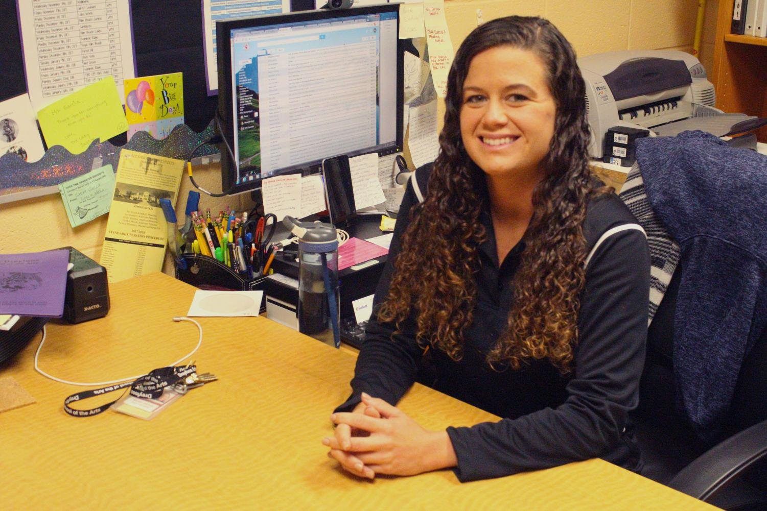 Aside from her job in the media center at Dreyfoos, media specialist Sarah Garcia works at Palm Beach State College as a tutor.