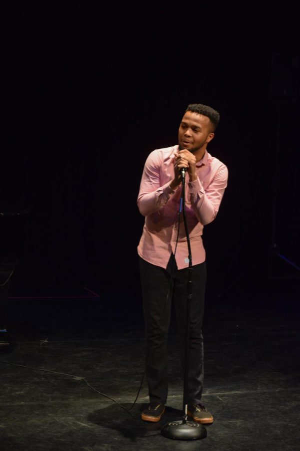 """Vocal senior Dylan Melville made the crowd emotional, dedicating the performance to his 5-year-old cousin who recently passed away. """"It's a song I always hoped to sing to him, and I know he was here watching over me,"""" Melville said. His cover of the song, """"Light in the Hallway"""" by Audra May, drew a heartfelt reaction from the audience."""