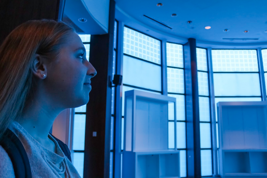 Strings senior Madison Payne takes in the details of the multi-sensory art exhibit by sound artist Stephen Vitiello at Culture Lab. The new space features two other exhibits by Vitiello which can be seen on the weekends from 11 a.m. to 6 p.m. for free.