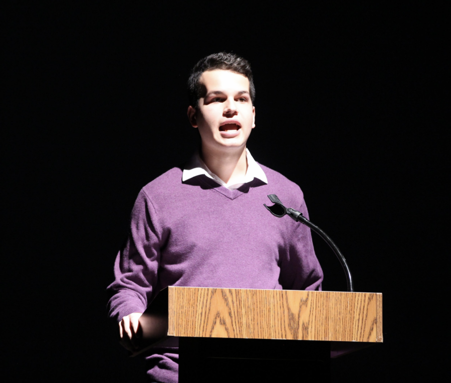 """Center Stage Master of Ceremonies and communications senior Michael Bole delivers his opening remarks. Bole performed in Center Stage's inaugural event in 2018 and was contacted this year to be the Master of Ceremonies for the show. """"The students in Center Stage are some of those that will end up pursuing their major as a form of work and going far with it,"""" Bole said. """"I think to see [them performing] at such an early stage is something that's incredible and not something you get to see every day."""""""