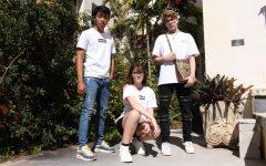Band sophomore Benjamin Gao, digital media freshman Caroline Wiseman, and dance sophomore Benjamin D'Addio show off their streetwear.