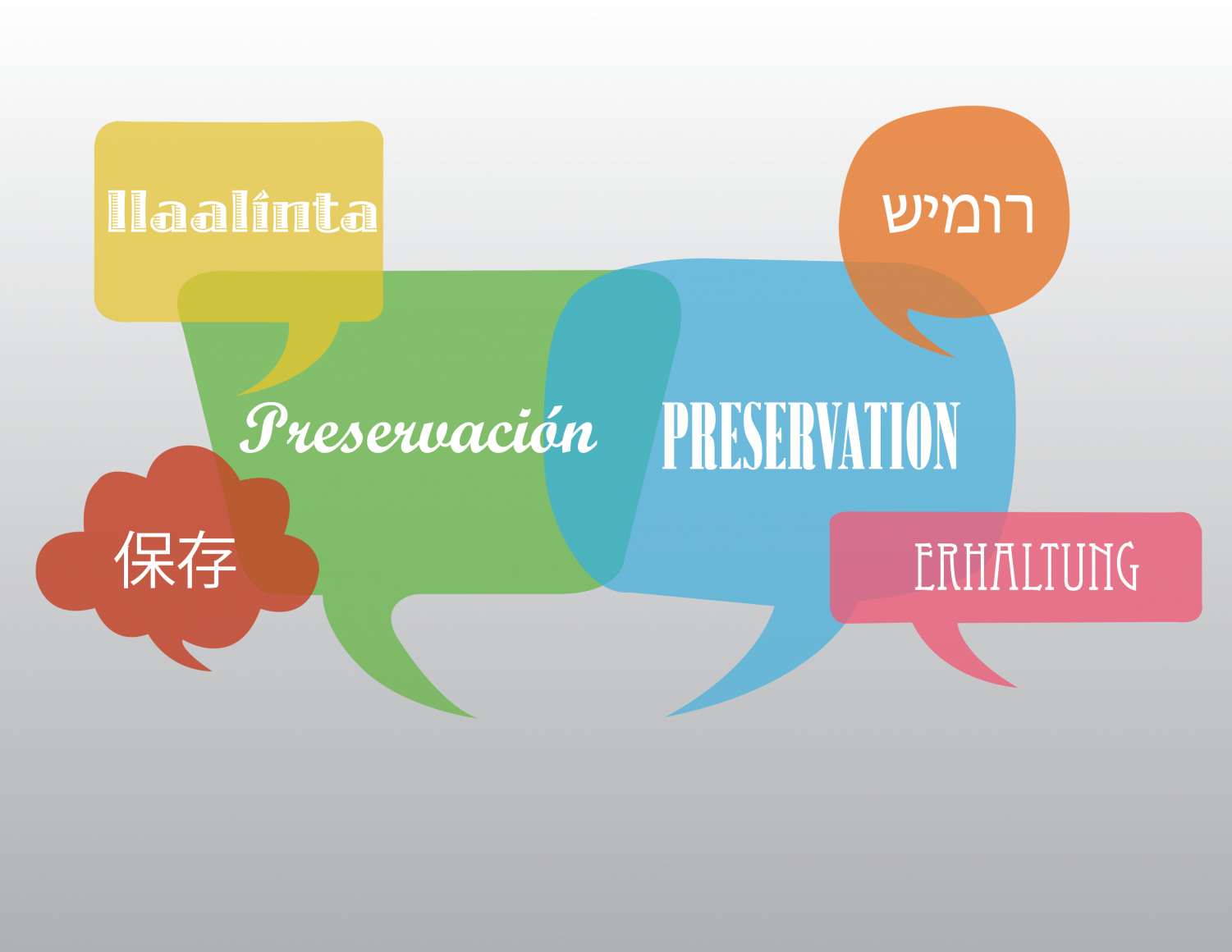 "The word 'Preservation' (from left to right) in Somali, Hebrew, English, Spanish, Simplified Chinese and German. ""It requires a mental discipline to switch and exclusively speak your parents' language when you are with them, and not speak English,"" said communications freshman Kaja Andric. Many students at Dreyfoos learned their parents language to preserve their parents culture."