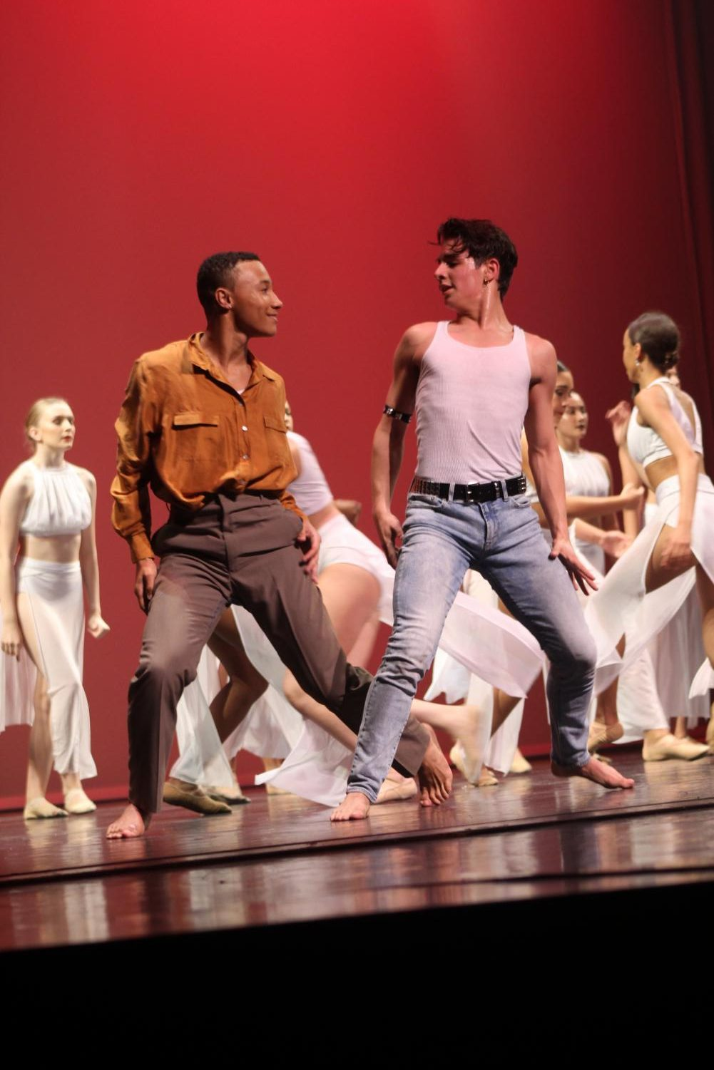 """Dance sophomore Mason Evans and dance junior Brenan Gonzalez were just two of several male dancers in last year's Spring Concert. """"I think the biggest challenge [of being a male dancer] is all of the stigmas and stereotypes that come around,"""" dance junior Alex Thomas said. """"[People say], 'Oh, ballet or dance is not a sport and you don't have to work as hard and this and that.' Growing up and defying all of those odds is a challenge."""""""