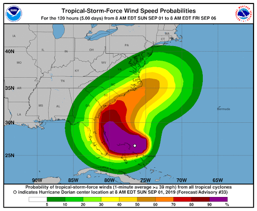 The eastern half of Palm Beach County has upward of a 90% chance of facing tropical storm-force winds. Those living in residential structures within Zone A and Zone B in Palm Beach County have been ordered to evacuate as of 1 p.m. on Sunday, Sept. 1, 2019.