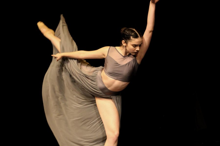 """Dance senior Alyse Harris performs """"Passing By,"""" a piece that she choreographed."""