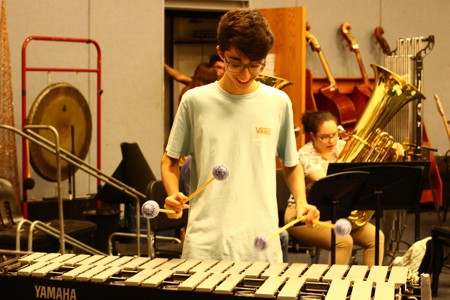 "Band sophomore Samuel Schwartz practices the vibraphone to prepare for his audition. ""I was playing with a four-mallet technique called Stevens Grip,"" Schwartz said."