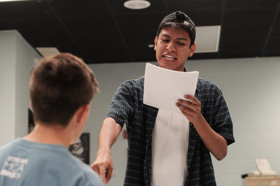 Director and theatre junior Jason Roblero stands in for Seth Greenberg at rehearsal, playing King Leontes. In order to inspire his cast, Roblero often paused the scene for reflection.