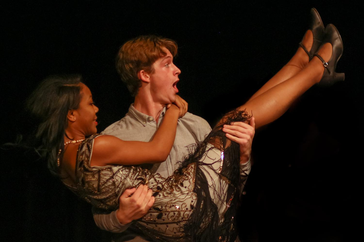 "Playing love interests Benedick and Beatrice, theatre junior Cooper Musser holds theatre senior Maya Mays. In the beginning of the play, Beatrice avoided love, saying, ""I had rather hear my dog bark at a crow than a man swear he loves me."" By the end of the comedy, though, the two fell in love."