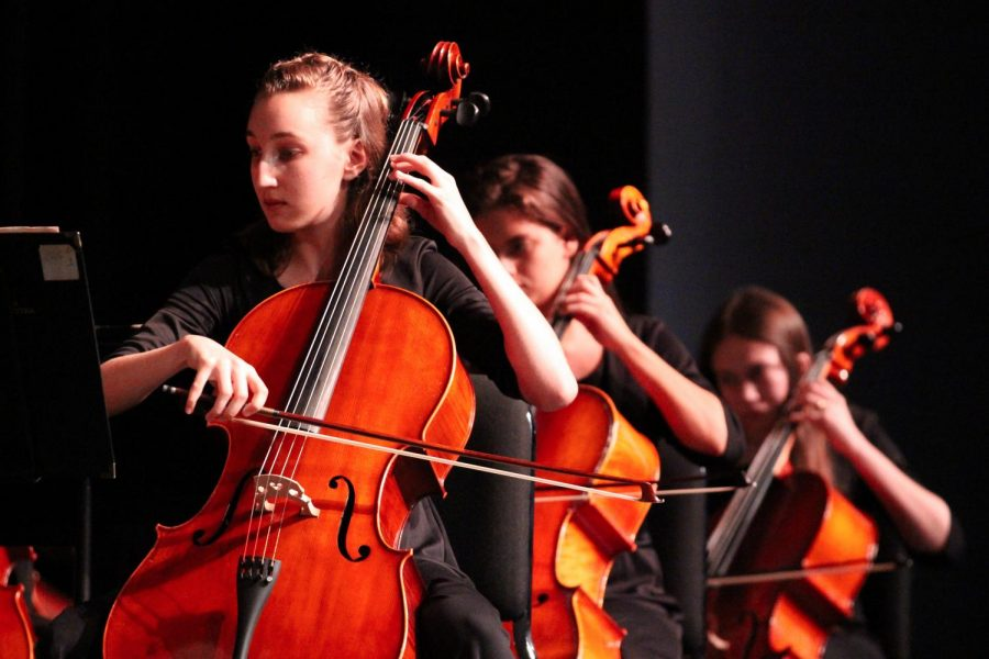 "Strings students play cellos in the Strings Orchestra Concert, held in Meyer Hall at 6:30 p.m. on Dec. 12. ""The first theme [of Tchaikovsky's ""Serenade""] follows and contains a particularly athletic passage for the cello section, playing scores of fast notes underneath a slower moving passage in the upper strings,"" according to Dr. Anthony Suter, composer and Associate Professor of Music at the University of Redlands."