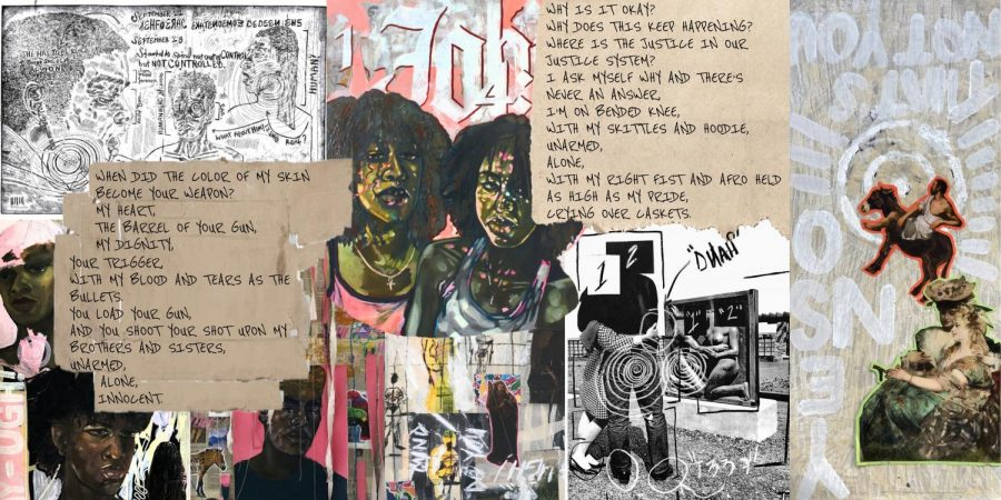 """The collage above mixes paintings, prints, and poems by visual seniors Kailyn Bryant and Sabrea Stallings. The poem, """"Crying over Caskets,"""" by Stallings, along with Bryant's work, incorporates the tumultuous lives and emotions of what it means to be Black in America. Black students, such as Bryant and Stallings, have used their artwork to express their navigation through the current political environment. All of Bryant's work can be found on her website: kbryantfinearts.com"""