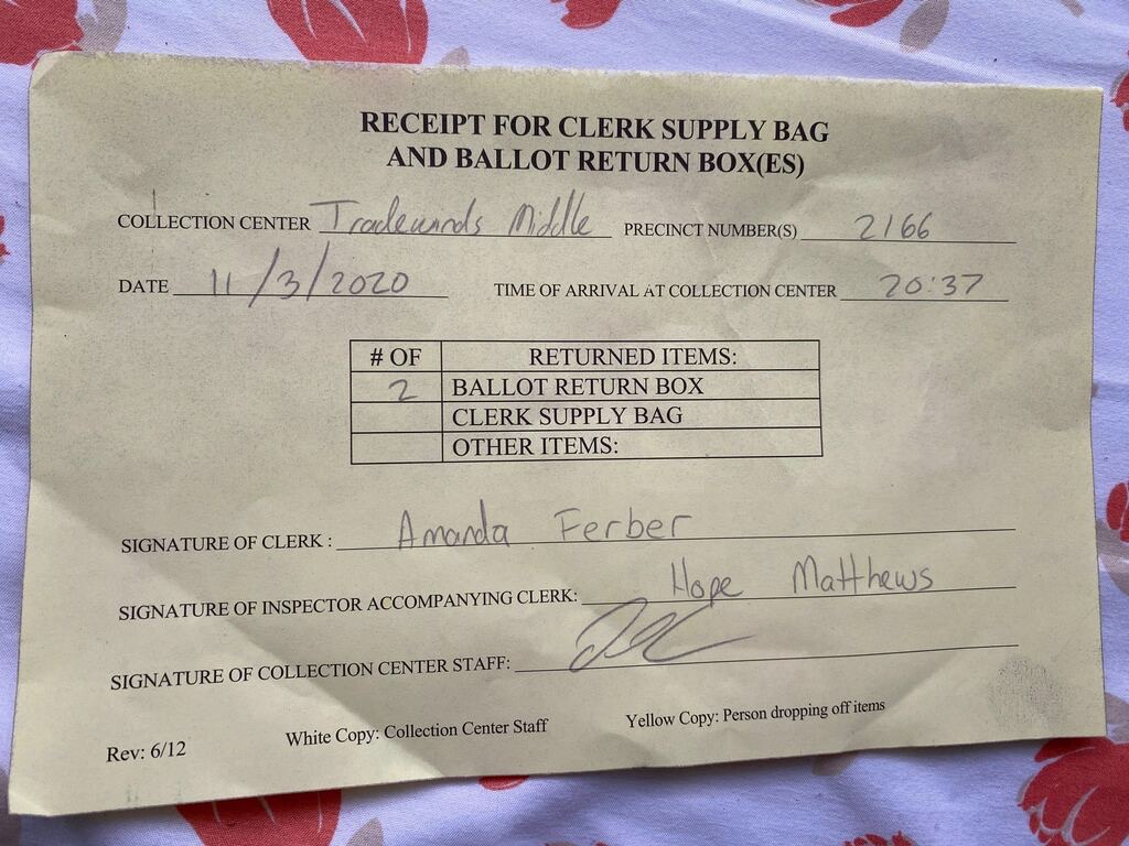 SOE officials gave me this receipt after retrieving two ballot boxes and the clerk supply bag from the trunk of my car. This receipt demonstrates the extent to which SOE maintains ballot accountability in an effort to avoid discrepancies in polling results.