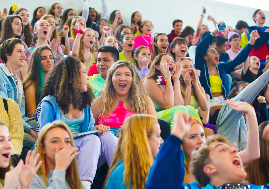 The class of 2022 cheers on their classmates in the spirit week game during the 2020 pep rally.