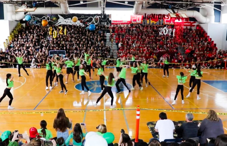 A viral sensation with over 500,000 views on YouTube, the class of 2022 performs their sophomore class dance during the 2020 pep rally.