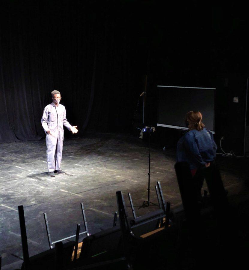 Theatre teacher Kristina Leljedal records Saintil. Photo by Natalie Ryder.