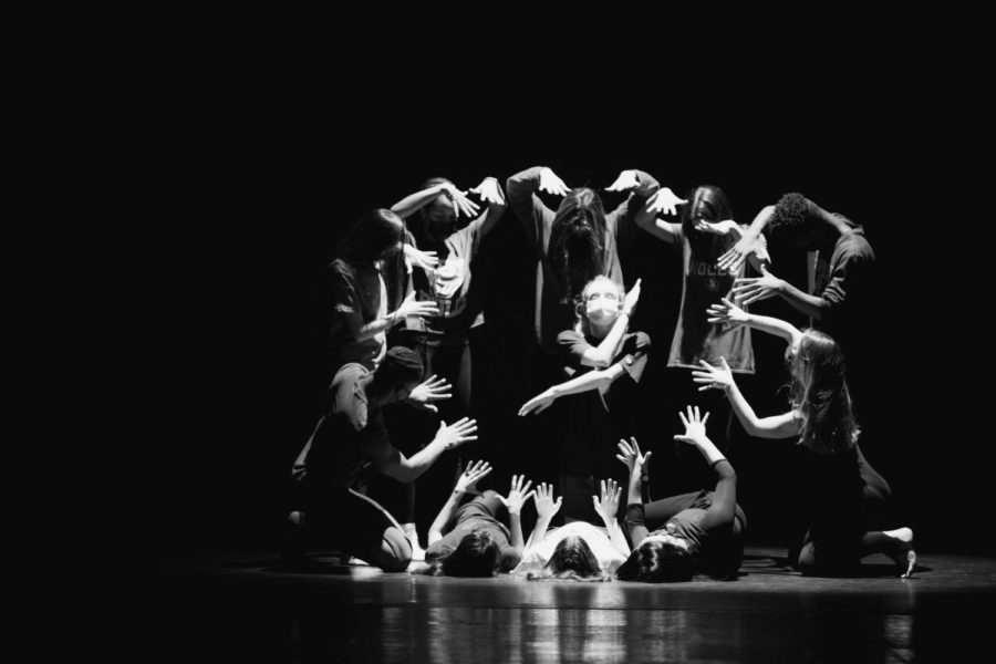 Dance seniors strike a pose while rehearsing for a group performance in the senior showcase.